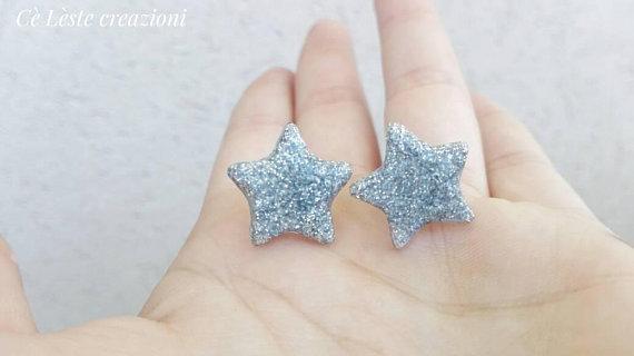 Orecchini a stella argento, orecchini di carta disponibili in etsy